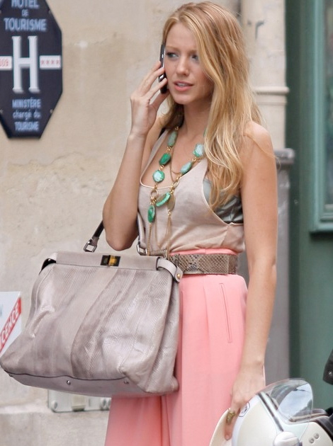 970bcbcd058d Blake Lively Fendi Peekaboo Tote Bag In Paris