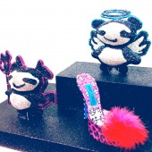 Rob Pruitt x Jimmy Choo limited edition DEVIL and ANGEL panda clutches