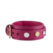 Bracelet Spike it en cuir rose indien. - vue de face.