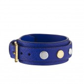 Bracelet Spike it en cuir bleu. - vue de face.