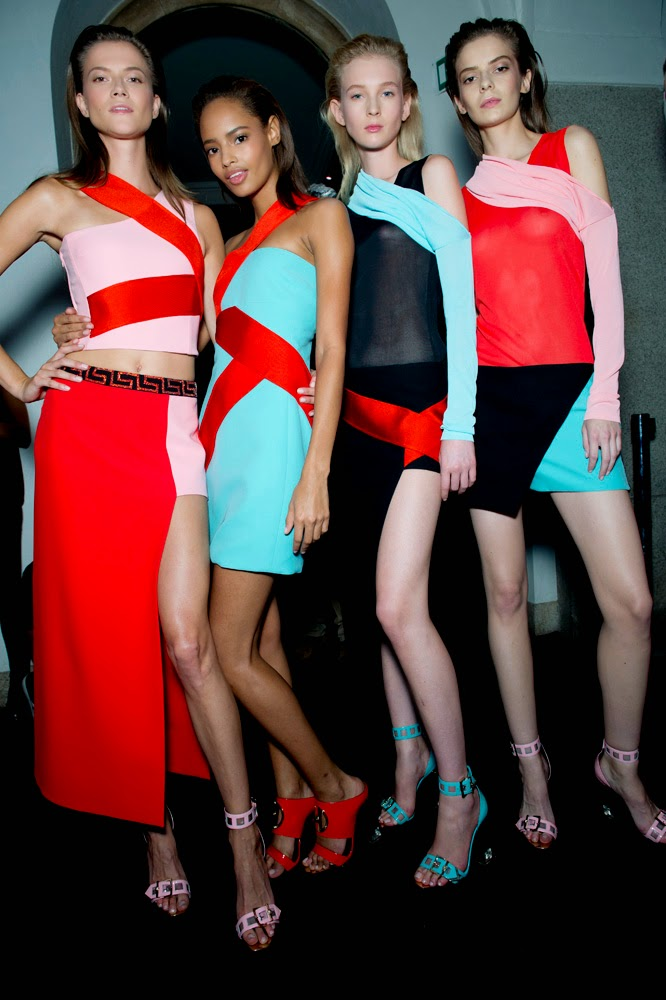 Backstage at the Versace Spring Summer 2015 Show 14